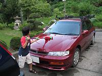 甥っ子が洗車