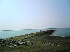 柏崎海岸の堤防